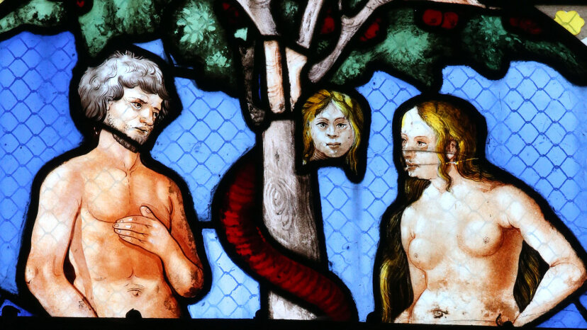 Adam, Eve and Lilith, stained glass
