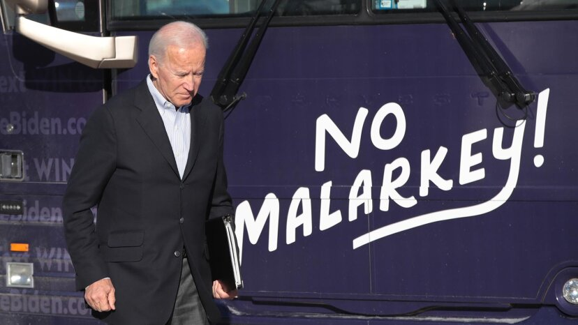 Joe Biden with malarkey sign