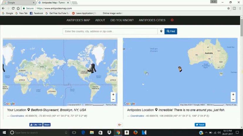 対蹠地マップは、地球上の任意のスポットの反対側を特定します