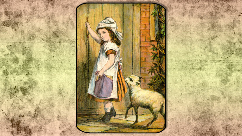 "19th century illustration of the ""Mary Had a Little Lamb"""