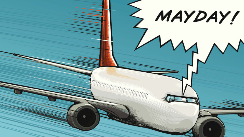 cartoon of plane calling mayday