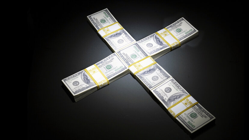 Cross made out of money