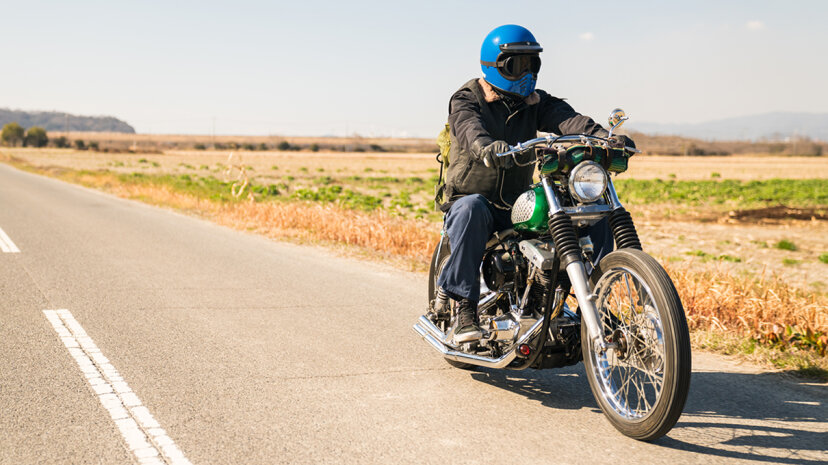 motorcycle rider on the road