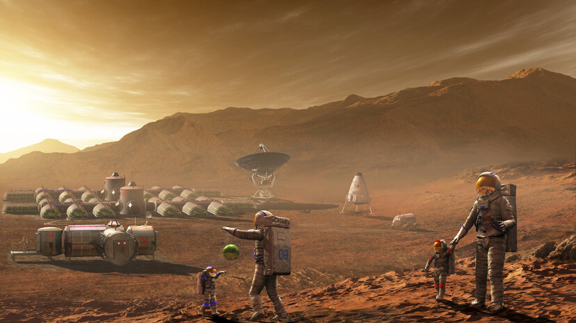 Future Mars colonists may have children who never know the blue skies of their parents' earthly home. Steven Hobbs/Stocktrek Images/Getty Images