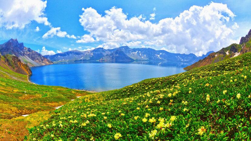 Cheonji Lake, aka Heaven Lake, lies between China and North Korea. Topic Images/Getty Images