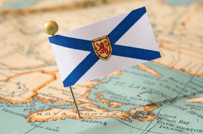 nova scotia flag pin on map