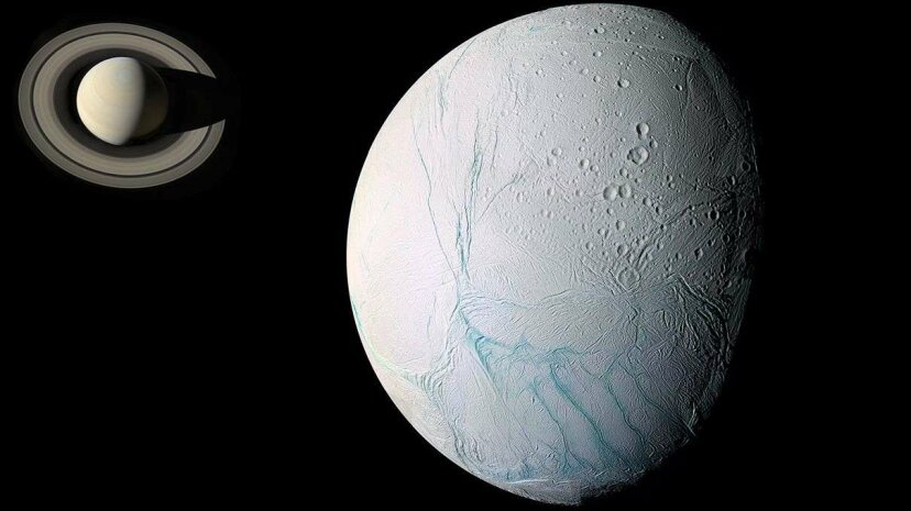 """Scientists have achieved a deeper understanding of the """"tiger-stripe"""" fissures in the icy crust of Saturn's moon Enceladus, pictured in this composite image of two photographs. Cassini Imaging Team/SSI/JPL/ESA/NASA"""