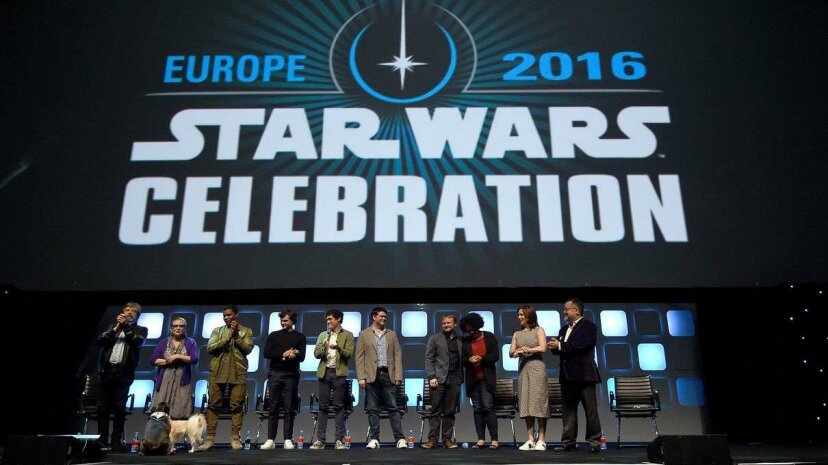 Mark Hamill, Carrie Fisher, John Boyega, Alden Ehrenreich, Phil Lord, Chris Miller, Rian Johnson, Kiri Hart, Kathleen Kennedy and Pablo Hidalgo on stage during Future Directors panel at Star Wars Celebration 2016 Ben A. Pruchnie/Getty Images for Walt Disney Studios