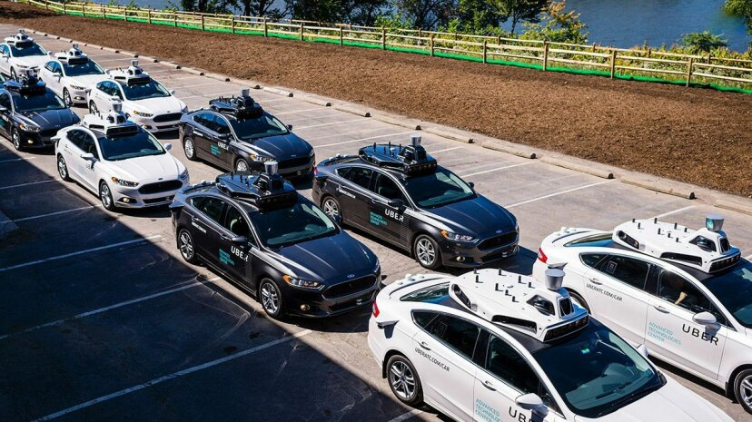 A fleet of Uber self-driving cars hangs out at the Uber Advanced Technologies Center in Pittsburgh, Pennsylvania. One of the Uber self-driving fleet was involved in an accident on March 24, 2017, thought to be caused by human error. ANGELO MERENDINO/AFP/Getty Images