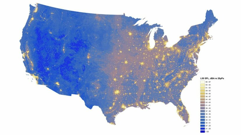 This National Park Service map of existing conditions displays sound levels across the United States, with the darkest blue shading depicting areas with sound levels below 20 decibels and the yellow (48-54 dBA) and white (55-67 dBA) shading highlightin... National Park Service