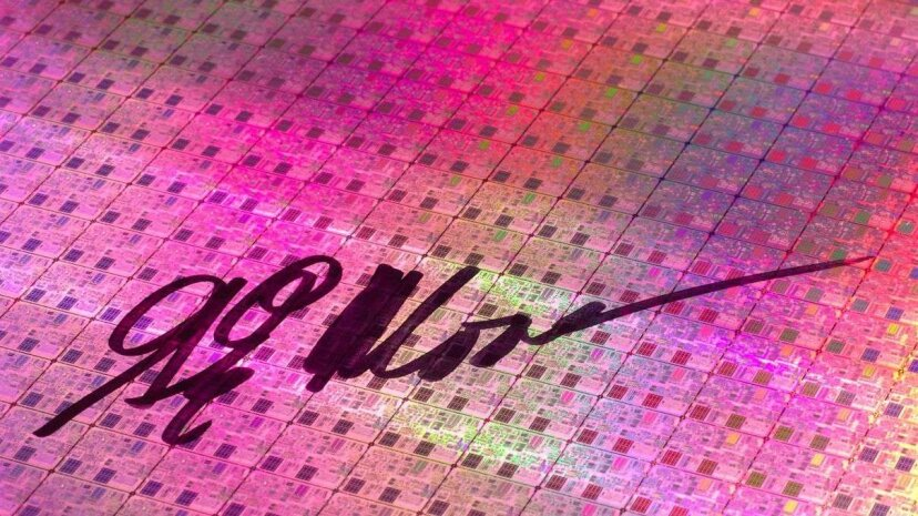 That's a 2005 silicon wafer signed by Gordon Moore. Hard to believe more than 50 years have now passed since Moore first penned those prophetic words. Science & Society Picture Library/SSPL/Getty Images