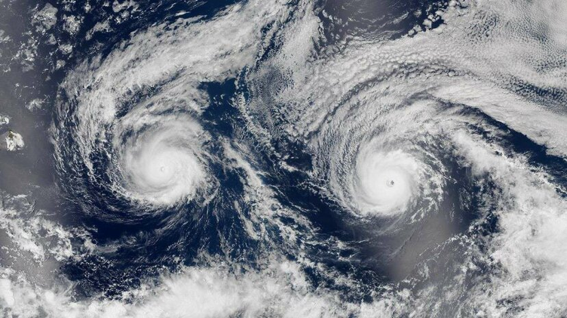 This August 29, 2016 image shows Hurricanes Madeline and Lester in the Pacific Ocean near Hawaii. NASA Earth Observatory/Jesse Allen