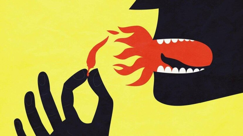 Illustration of person eating spicy food
