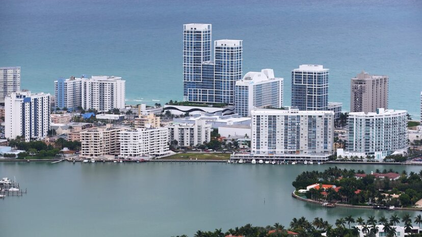 Waterfront condos in Miami house thousands of residents; what cities will they move to when rising sea levels force their displacement? Joe Raedle/Getty Images