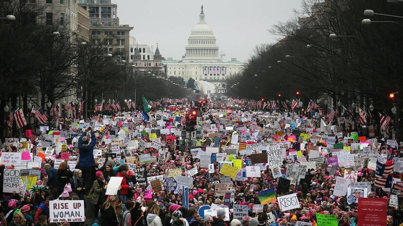 Protesters walk up Pennsylvania Avenue during the Women's March on Washington with the U.S. Capitol in the background, on Jan. 21, 2017 in Washington, D.C. Mario Tama/Getty Images