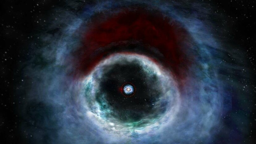 Artist impression of the HD 142527 binary star system; the two dots in the center represent the stars, while the red arc above is where potential planetary formation is taking place. B. Saxton (NRAO/AUI/NSF)