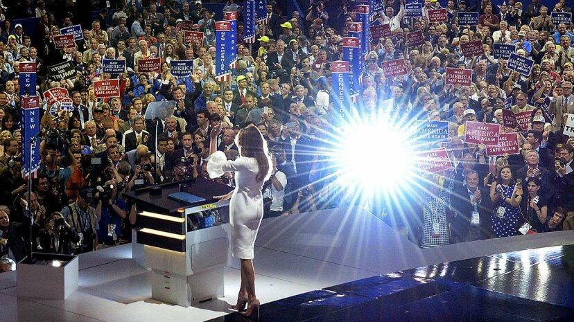 Melania Trump waves to the crowd at the end of her Monday, July 18, speech on the opening day of the 2016 Republican National Convention. Toni L. Sandys/The Washington Post/Getty Images