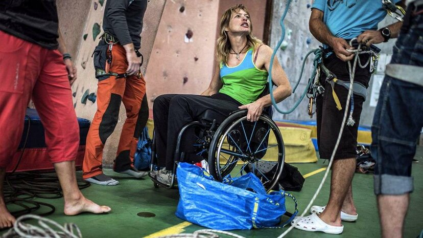 Belgian paraplegic climber Vanessa Francois training in 2013. A new nonsurgical procedure suggests potential for restoring movement. Jeff Pachoud/Getty Images
