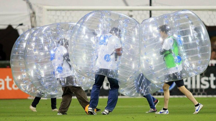 Bubble soccer showed up at half-time during a MLS match between Orlando City and D.C. United at RFK Stadium in Washington D.C.  Tony Quinn/Icon Sportswire/Corbis