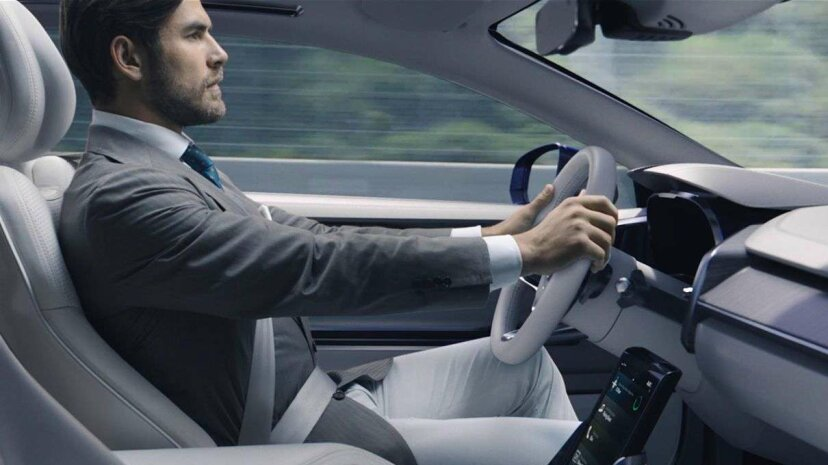 A Volvo outfitted with the IntelliSafe Auto Pilot system that Volvo is testing in 2017. Volvo