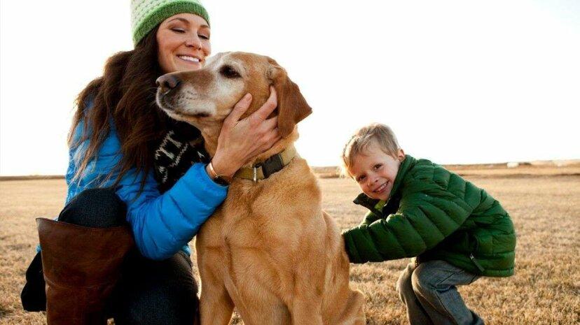 Mom, dog and kid