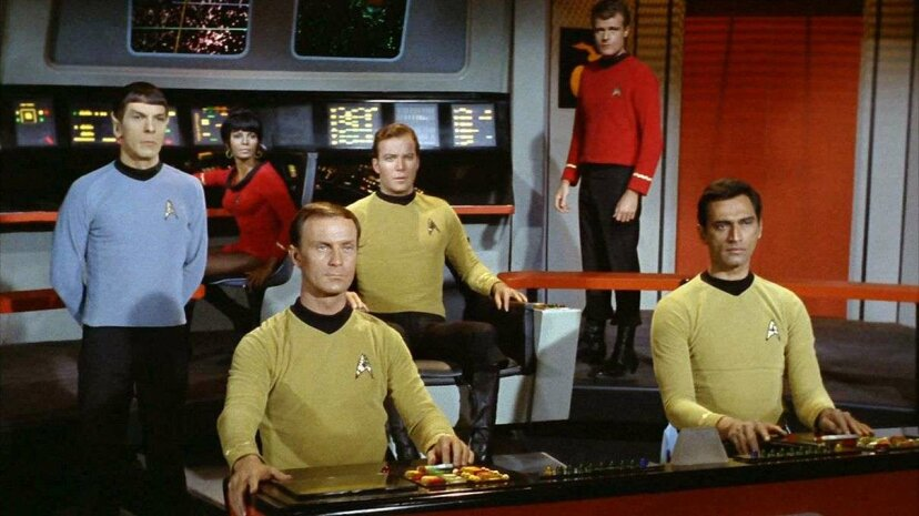 On the bridge of the starship Enterprise from left: Leonard Nimoy as Mr. Spock, Nichelle Nichols as Lieutenant Uhura, William Blackburn as Lieutenant Hadley, William Shatner as Captain James T. Kirk, Eddie Paskey as Lieutenant Leslie and unidentified a... CBS via Getty Images