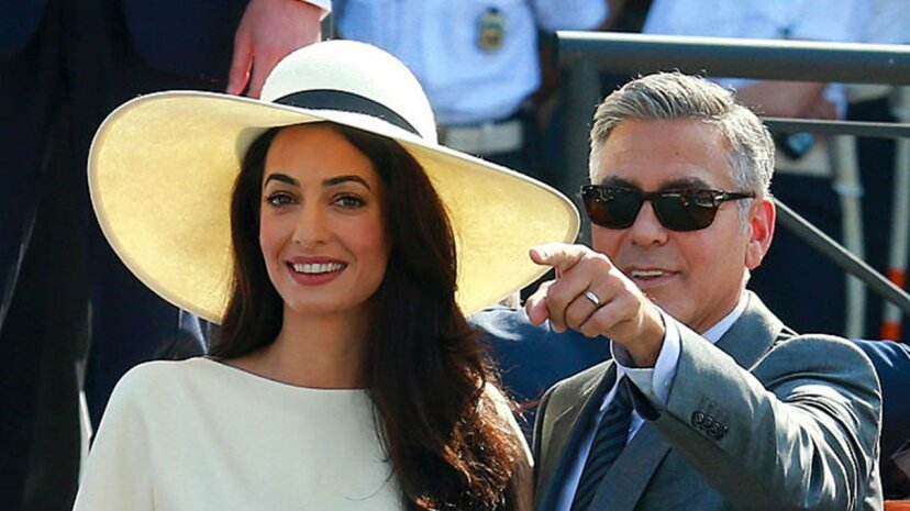 George Clooney and Amal Alamuddin seen during their civil wedding in Venice, Italy in 2014. At the time Clooney was 53 and Alamuddin was 36. Robino Salvatore/GC Images