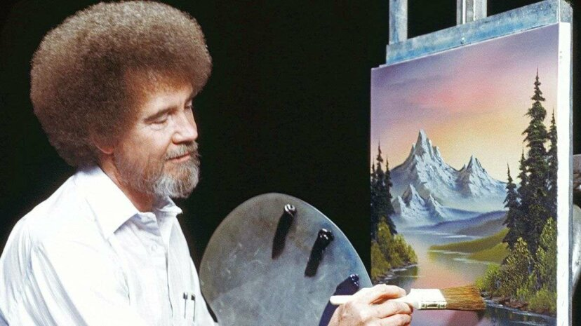 "Bob Ross paints a signature landscape with his ""almighty"" brush. Bob Ross Inc"