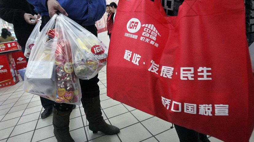 The Chinese government announced a nationwide ban on stores distributing free ultra-thin plastic bags starting June 1, 2008. Chinese people had been using 3 billion plastic bags each day. China Photos/Getty Images