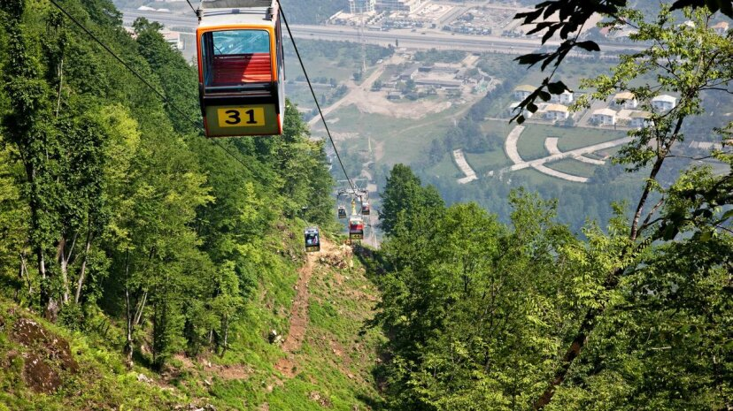 A cable car rises over the Caspian Sea coast in Ramsar, Iran. Ali Majdfar/Getty Images