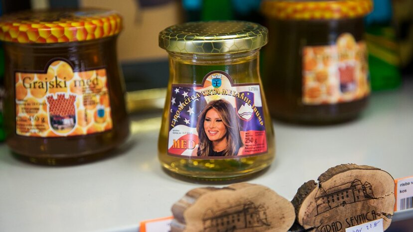 Melania Trump-themed honey is on display at a shop in a tourist information center in Sevnica, Slovenia. Jack Taylor/Getty Images