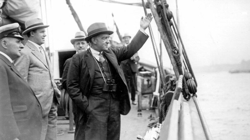 September 1921: Sir Ernest Shackleton waves goodbye as he embarks on the Shackleton-Rault Expedition to the Antarctic. The famous explorer would die the following year at age 47. Topical Press Agency/Getty Images