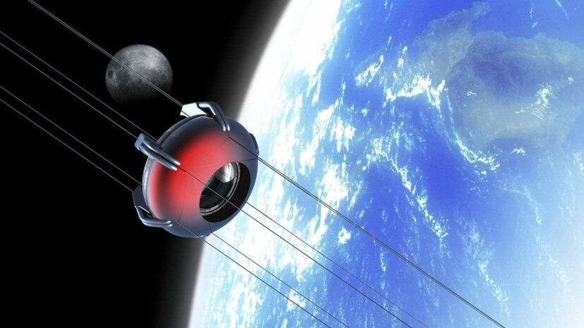 An artist's rendering of a space elevator attached to a nanothread structure. Victor Habbick Visions/Getty Images