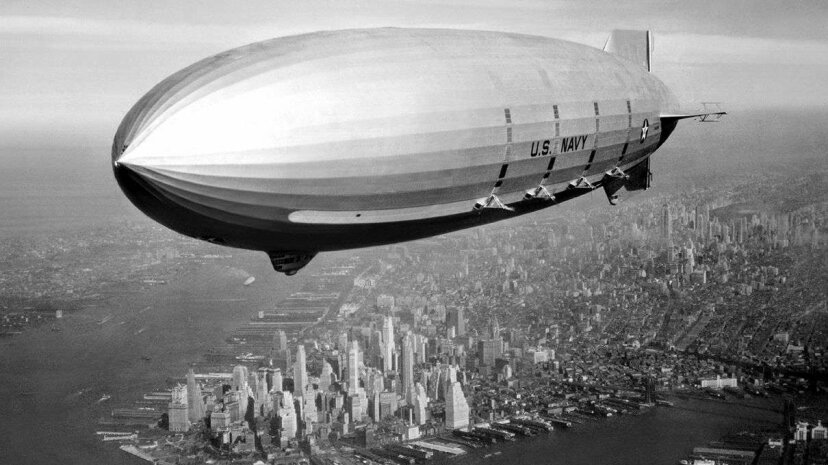 The flying aircraft carrier USS Macon above New York City in 1933. Universal History Archive/Getty Images