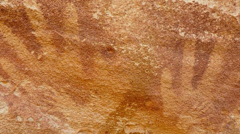 A recent expedition to the Egyptian desert found researchers investigating mysterious stencils of tiny hands. Emmanuelle Honor