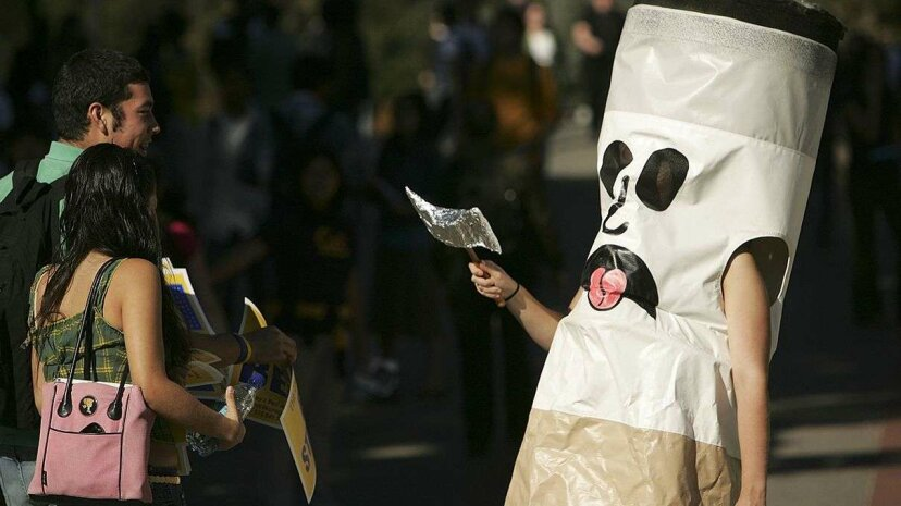 """""""Ciggy Butts"""" has his work cut out for him, encouraging people to kick the habit. Only 4-7 percent of smokers are able to kick the habit without any help, according to the American Cancer Society. Justin Sullivan/Getty Images"""