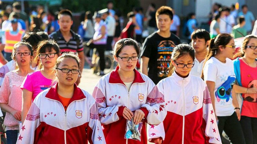 Chinese students leave school after finishing their college entrance exams. In China, some 90 percent of high school students are nearsighted. Zhang Peng/LightRocket via Getty Images