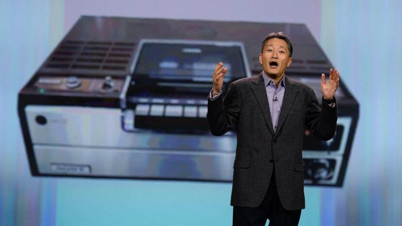 Sony president and CEO Kazuo Hirai delivers a keynote address in front of an image of a Sony Betamax at the 2014 International CES conference. Ethan Miller/Getty Images
