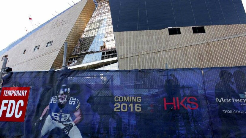 Construction continues in 2015 on U.S. Bank Stadium, future home of the Minnesota Vikings football team. The new stadium is partly funded by the city of Minneapolis. Raymond Boyd/Getty Images