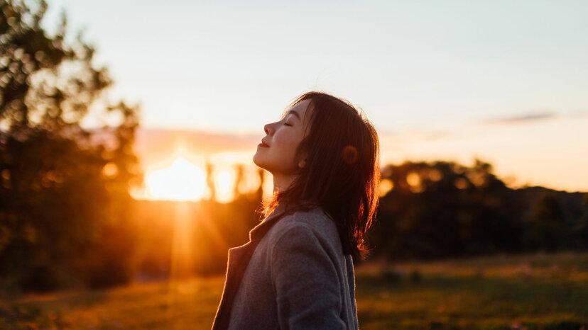 asian woman breathing