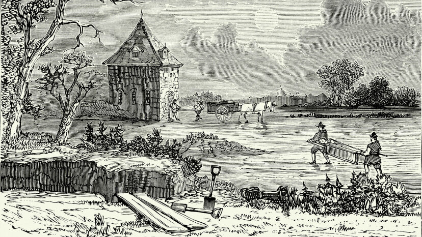 Workers transport dead bodies during the Great Plague of London