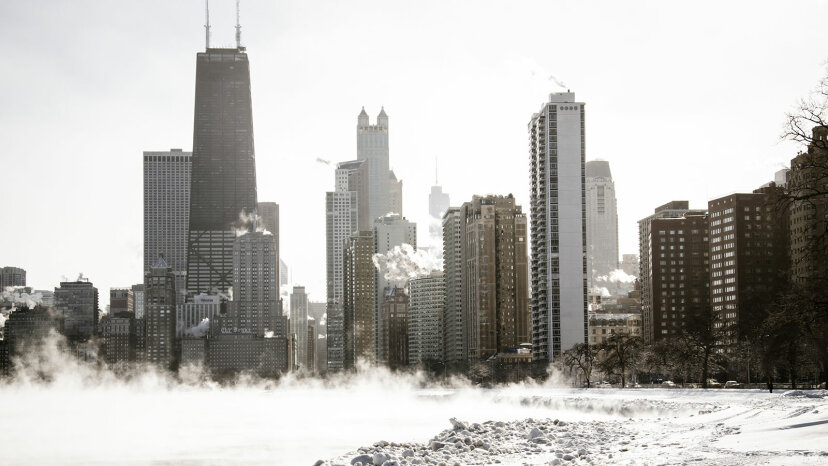chicago skyline in january
