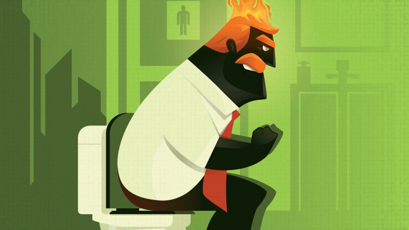 illustration of man sitting on toilet with fire out of butt
