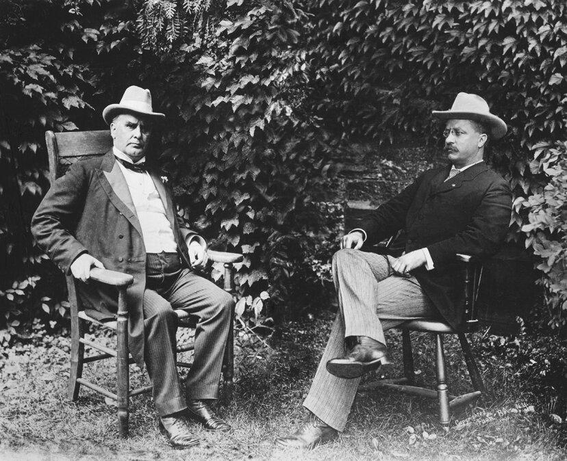 william mckinley, theodore roosevelt, seated outdoors