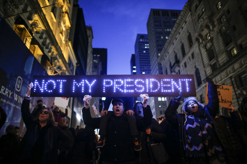 protesters in new york city with a not my president sign