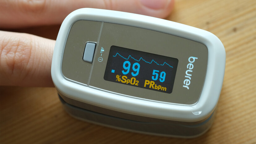 O2 levels shown in oximeter