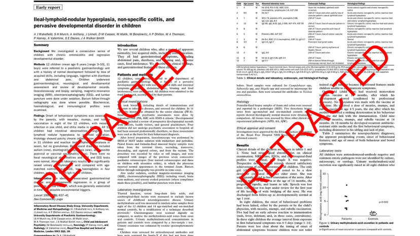 retracted autism paper