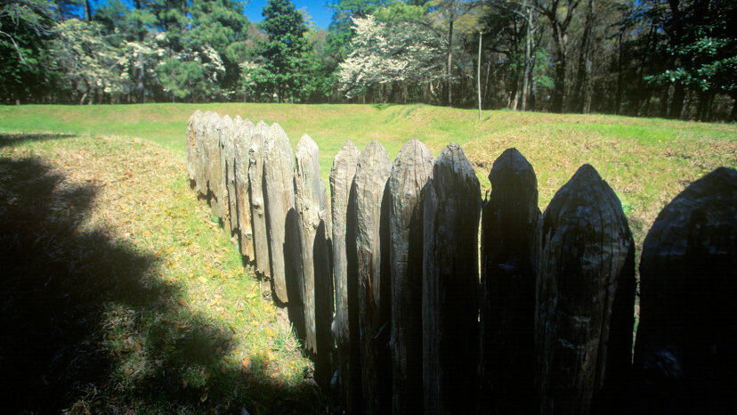 Gravestones commemorate the Lost Colony