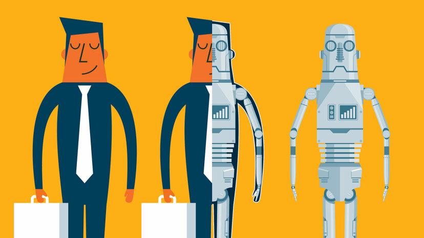 illustration of man turning into robot