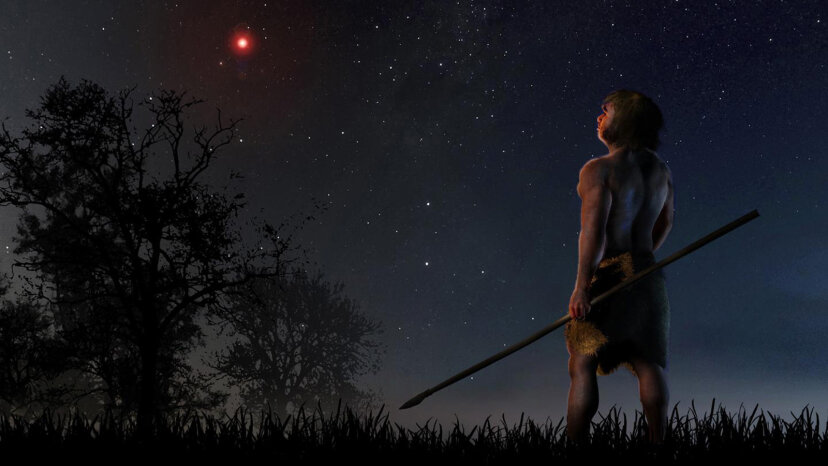 Illustration of early human looking at Scholz's star